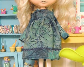 Teal-Blue Batik Dress for Blythe