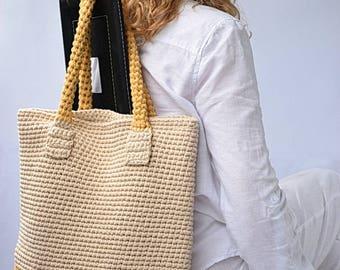 Crochet Tote Bag in yellow and beige, shopping bag, summer bag, beach bag, handbag, crochet shoulder bag, beige yellow casual purse gift her