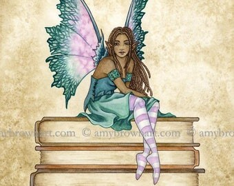 Bookworm III fairy 8X10 PRINT by Amy Brown