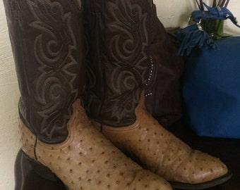 J. Chisholm Men's Cowboy Boots Ostritch Leather Tan Brown 9.5