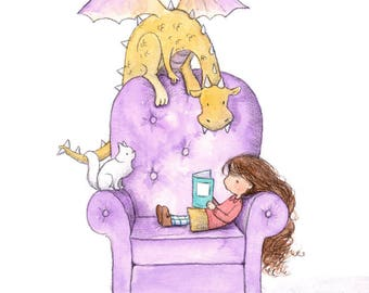 Clarisse Reads a Story - Brunette Girl and Purple Dragon Reading Books - Art Print - Children