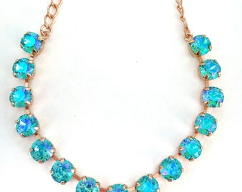 Swarovski Lt. Turquoise Glacier Blue 1/2 Necklace, Rose Gold  Layering Necklace, Rhinestone Necklace, Gifts For Her, Gifts Under 40