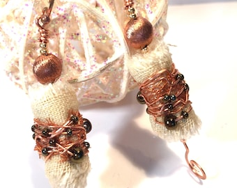 Copper and Textile Wire Wrapped Dangle Earrings with Linen And Seed Beads Handmade Earrings