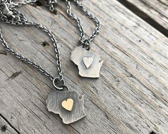 Sterling Silver Wisconsin Necklace Handmade Wild Prairie Silver Jewelry