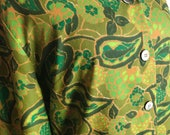 Vintage Mod Paisley Green Blouse by Dutchmaid
