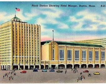 Vintage Boston Postcard - North Station and Boston Garden (Unused)