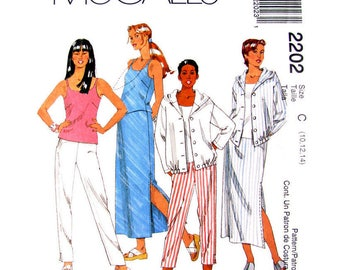Womens Sewing Pattern Casual Hoodie Top, Tank Top, Skirt, Pants, Shorts Pattern McCalls 2202 Size 10 12 14 UNCUT