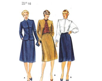 80s Lined Jacket, Blouse, Skirt Pattern Butterick 4014 Evan-Picone High Neck Blouse Skirt Suit Womens Size 16 Sewing Pattern UNCUT