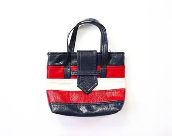 Mod Bag 60s Vinyl Purse Space Age Tote Mid-Century Handbag Shopping Market Deadstock Nautical Sailor Retro Red White Blue Striped MCM