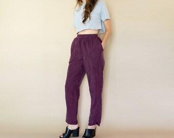90s plum SILK high waist SPORTY trousers S-M