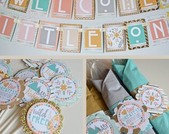 Boho Baby Shower Decorations Package Fully Assembled | Modern Tribal | Boho Chic Shower | Bohemian Baby Shower | Hippie Baby Shower | Rustic