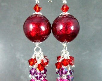 Red Murano Glass Earrings, Red Purple Pink Long Crystal Dangle Earrings Sparkling Cluster Earrings Venetian Murano Jewelry Special Occassion