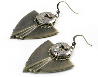 Steampunk Vintage Watch Movement Brass Art Deco Earrings