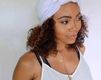 Turban Hat, White Turban Hat, Stretchy Cloche Cap, Womens Hat Cotton Jersey - or Choose Your Color