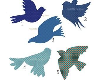 5 Flying Birds applique template | PDF applique pattern | applique template