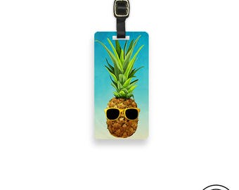 Luggage Tag Watercolor Pineapple with Sunglasses Funny Metal Luggage Tag With Printed Info On Back, Single Tag