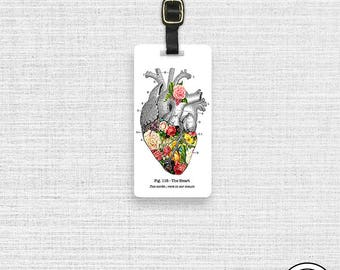 Luggage Tag Spring in My Heart Vintage Medical Chart Tag - Single Tag