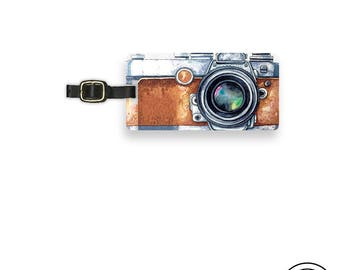 Luggage Tag Brown Watercolor Camera art Photographer Tag Metal Luggage Tag With Custom Info On Back, Single Tag