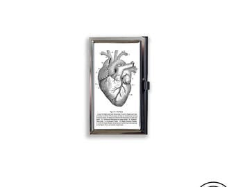 Business Card Case Vintage Medical Anatomical Heart Chart Fits Business Credit Debit and Gift Cards