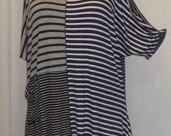 Coco and Juan, Lagenlook, Women's Plus Size Top,  Cold Shoulder, Rayon Knit, Angled Tunic Top, Mixed Stripes, #2 One Size Bust to 60 inches