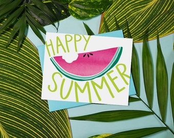 Happy Summer, Watermelon, Summer Vibes, Watercolor, Beach, Sunny, Fun Stationery, Sunnies, Summertime, greeting card, illustration, Sweet
