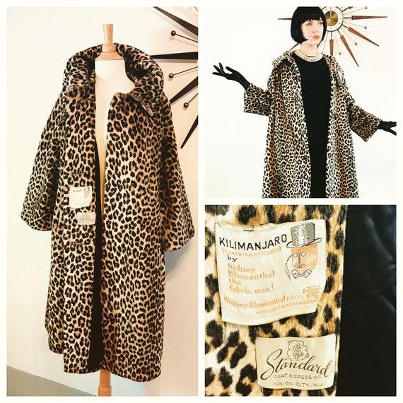 50s Leopard Coat, by KILIMANJARO, Leopard print coat, Vintage 1960s leopard coat, 60s Trapeze Coat, Leopard Swing Coat, Three quarter Sleeve