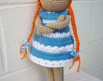 Baby Doll Crochet Doll Toy Doll Amigurumi Doll Soft Doll Plush Doll Fabric doll Crocheted Doll Knitted doll Soft dress up doll Redhead doll