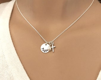 Dainty Personalized Name and Cross necklace - First Communion Gift - Girls Cross Necklace - Photo NOT actual size