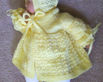 Custom handmade knit Yellow baby Sweater Bonnet cap hat booties Girl or boy or reborn doll - 0-12M-  Baby Gift or for Photos - Ready To Ship