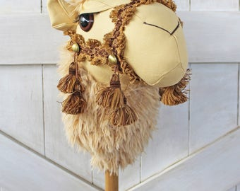 "Camel Ride-On Toy Stick Horse ""Shuqara"" Blonde Toddler Size Ready To Ship"