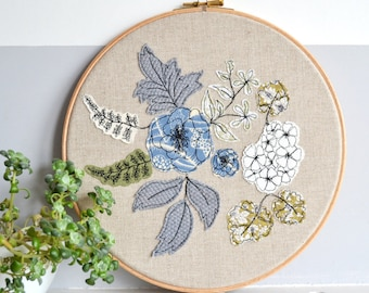 Blooms Personalised Embroidery Hoop Picture