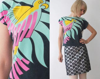 80s tropical bird print top. crop top. slouch cotton batwing top. summer top - xs, small