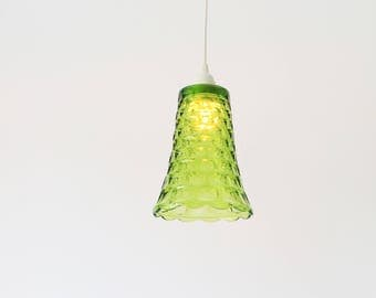 Pendant Lamp, Hanging Pendant Lighting Fixture Made With A Vintage Green Glass Vase, Upcycled Lighting & Home Decor By BootsNGus
