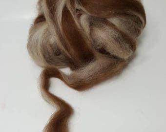 Suri Alpaca Roving. Brown and Fawn Suri Alpaca, Striped Roving, Brown Fawn Striped Roving, Spinning Fiber