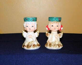 "Vintage Lefton Singing Angel Candle Holders, Set of Two a Boy and Girl, they hold 1 1/2"" Votives, Short Pillar Candles or Tea Lights"