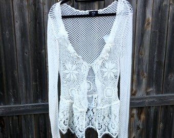 Altered Women's White Crocheted Shrug Top, Altered Couture, Magnolia Pearl Style, Shabby Chic, Large, Romantic Wedding Trim and Flowers, Top