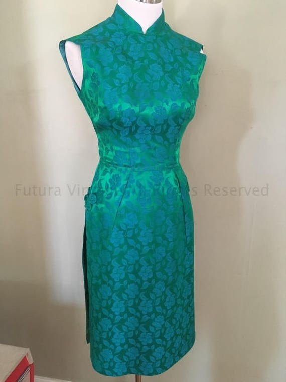 1950s Stunning Green and Blue Brocade Cheongsam Fitted Dress with Skirt Panels-XS
