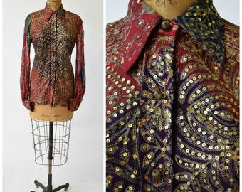 60s / 70s Thea Porter Couture Golden Sequins & Ornate Metallic Embroidered Shirt // Bohemian Chic Designer Vintage