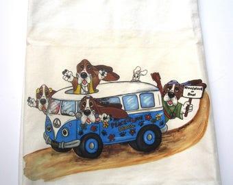 "Basset Hound Flour Sack/Tea Towel - ""Woofstock"""