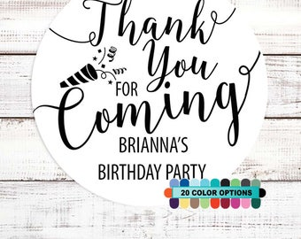 Thank You For Coming - Personalized Round Birthday Party Sticker Labels - Available in 8 Different Sizes - Birthday Party Sticker Label