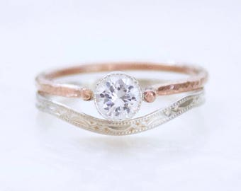 Organically Vintage Petite Alternative Bridal Set - Sterling Silver and Gold Fill - CZ or Sapphire - Ethical Conflict Free