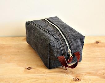 Black denim  dopp kit/ medium mens toiletry bag/ canvas pouch/ travel kit/ leather trim - ready
