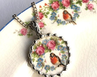 Broken china jewelry - broken china circle necklace - antique robin bird, roses, forget me nots, made from a broken plate, recycled china