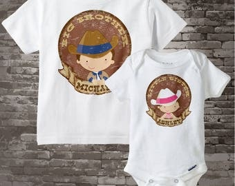 Big Brother Little Sister Shirt set of 2, Sibling Shirt, Personalized Tshirt with Cute Cowboy Cowgirl 03252016b