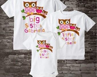 Matching Set of 3 - Owl Big Sister Little Sister Baby Sister Set - Sibling Set of three - Coordinating Set of 3 owl sister shirt 01212014e