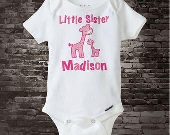 Little Sister Giraffe Tee Shirt or Onesie 07122011z