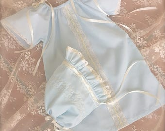 Baby Girl  Day Gown Heirloom Lace Ribbon Pastel Blue Coming Home Matching Sister Newborn to 6 months with Matching Bonnet