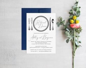 Rehearsal Dinner Invitation, Black and White Wedding Shower Invite, Formal Place Setting, Elegant Wedding Rehearsal Invitations, Printed