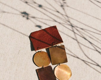 Asymmetrical Copper Earrings // Circles and Squares