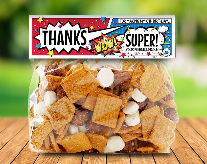 Superhero Treat Bag Topper - Superhero Party, Super Hero Favor Bag Topper   Editable Text- DIY Instant Download PDF Printable
